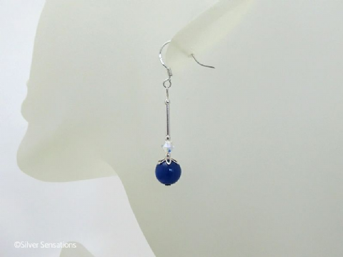 Medium Blue Jade & Swarovski Crystals Sterling Silver Earrings